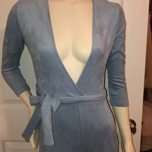 86247416116 Oh Polly Other - Baby blue suede jumpsuit.